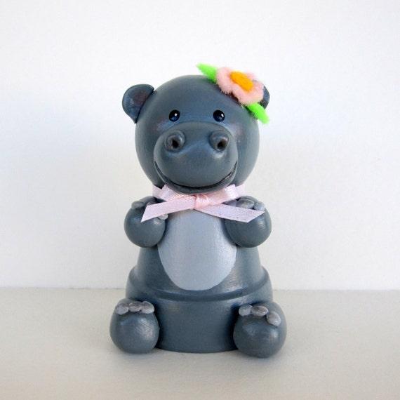 Hippo Flowerpot Bell Ornament