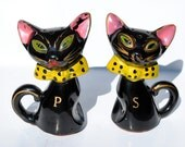 Vintage black cat 1950s salt and pepper shakers, Halloween black cats, yellow bow ties, slanted green eyes anime cats