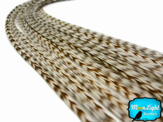Mix and Match, MOCHA Thin Long Grizzly Rooster Hair Extension Feather & Silicon Bead : 1518