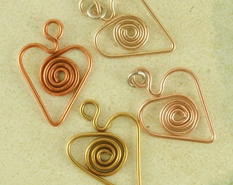 1 Handmade Heart Charm with Swirls - 16mm X 12mm -  Your Choice of Metals Including Sterling Silver, 14kt Gold Filled, Copper and Brass