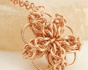 Celtic Flower Chainmaile Pendant in Sterling Silver, 14kt Rose Gold Filled, 14k Gold Filled,