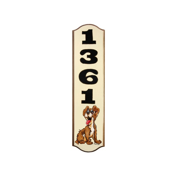 ADDRESS SIGN Cute Brown Dog Sign 6x23