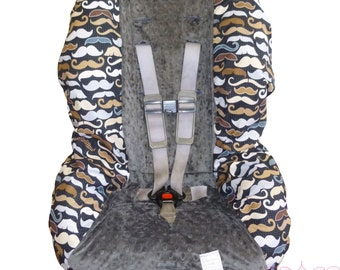 Menswear Moustache with Charcoal Toddler Carseat Cover