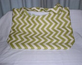 Large Beach Bag - Green Chevrons
