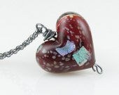 RESERVED Oxblood Heart Necklace