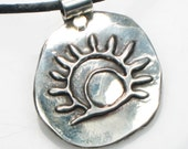 Southwest Sun Spirit Petroglyph Necklace, Pendant or Key Ring - Sterling Silver