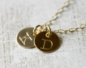 Handmade Long Gold Necklace Personalized, Two Initials, Custom Monogram, Large Hand Stamped Charms, Typewriter Font