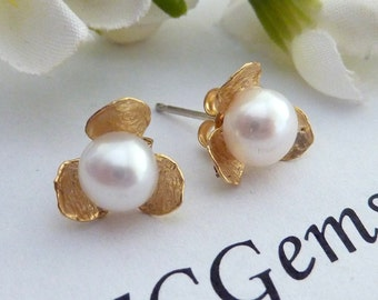 BRIDAL JEWELRY - Yellow Gold Orchid Flower Fresh Water Pearl Earrings