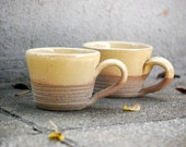 butter yellow latte mugs hand made pottery - claylicious