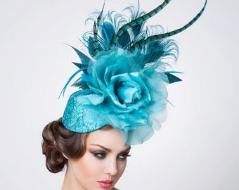 Melbourne Cup Turquoise Fascinator-- Cocktail Hat- Couture Headpiece