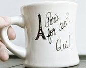 Paris tea cup, France mug, French, diner mug, black white, hand painted, Eiffel tower, tea lover, travel, city, Europe, oui, gift under 25