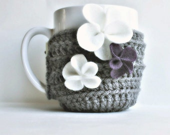 Floral coffee cozy mug tea cup african violet purple gray white crochet handmade cover