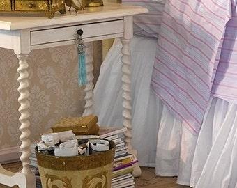 "Rachel Ashwell Shabby Chic Brolley Ticking Stripe Aqua or Pink background cotton poplin 54""  by the Yard"