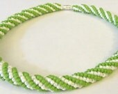 Spiral necklace, green and white Twisted Herringbone necklace Ndebele necklace, seed beads necklace