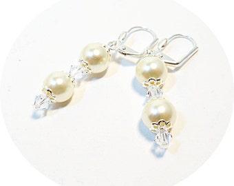 Ivory Pearl Earrings, Bridal Earrings, Brindesmaid Gift, Mother of Bride, Mother of Groom, Bridal Earrings Dangle Earrings, Drop Earrings