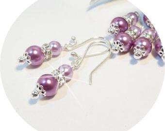Bridesmaid Earrings, Purple, Wisteria, Lilac, Pearl Earrings, Rhinestone, Wedding Jewelry
