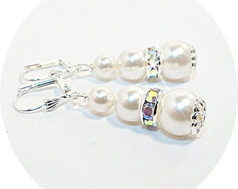 Bridal Earrings,  Pearl Earrings, Pearl and Rhinestone Earrings, Bridesmaid, Wedding, Dressy