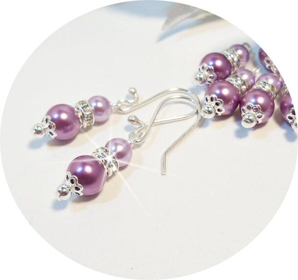 bridesmaid earrings purple wisteria lilac pearl earrings