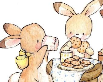 Cookies and Milk - Children Art.  PRINT 8X10. Nursery Art Home Decor