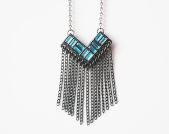 Blue Cheveron Fringe Hematite Necklace