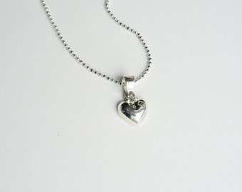 Puffed Heart Pendant Necklace on Diamond Cut Ball Chain - Sterling Silver - Weddings - Bridesmaid Gift