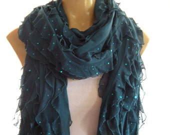 Dark Teal ruffle scarf  Sparkling  teal Sequined extra long scarf  Tube scarf  Super long Flamenco Superstar-Last One
