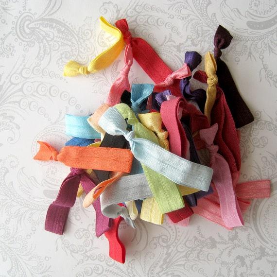 Grab Bag -- 41 Elastic Hair Ties -- Rainbow -- Anthropologie Inspired -- Stretch Bracelet