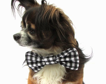Dog Bowtie-Clip on- Black and White Gingham cotton