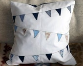 CLEARANCE Blue White and Navy Triangle Bunting Houndstooth and Floral Fabric Applique Embroidered Cushion Cover 40 x 40cm
