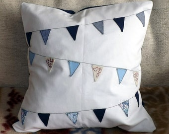 Blue Bunting Fabric Applique Cushion Cover
