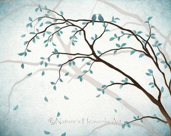Romantic Love Bird Wall Art 5 x 7 Print, Nature Inspired Blue Home Decor, Tree Branches, Watercolor Tree Art