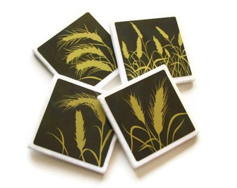 Wheat Grass Tassels, Ceramic Tile Coasters, Wheat Field, Country Table Decor, Silhouette Art, Brown Home Decor Accessory Set of 4