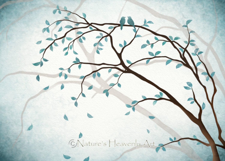 Romantic Love Bird Wall Art 5 x 7 Print Nature Inspired Blue