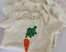 Organic Onesie or Toddler Tee, Carrot Print, American Made