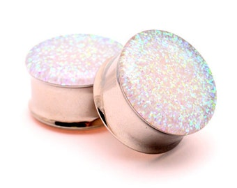 Embedded Pearl Glitter Plugs gauges - 1 1/8, 1 1/4, 1 3/8, 1 1/2 inch