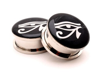 Eye of Horus Picture Plugs gauges - 16g, 14g, 12g, 10g, 8g, 6g, 4g, 2g, 0g, 00g, 7/16, 1/2, 9/16, 5/8, 3/4, 7/8, 1 inch