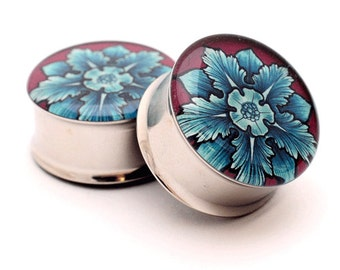 Filigree STYLE 1F Picture Plugs gauges - 16g, 14g, 12g, 10g, 8g, 6g, 4g, 2g, 0g, 00g, 1/2, 9/16, 5/8, 3/4, 7/8, 1 inch