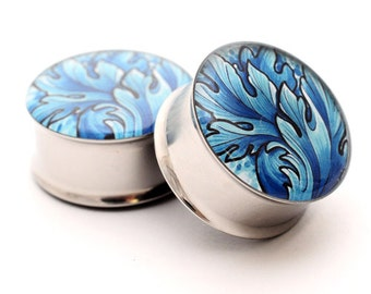 Filigree STYLE 6B Picture Plugs gauges - 16g, 14g, 12g, 10g, 8g, 6g, 4g, 2g, 0g, 00g, 7/16, 1/2, 9/16, 5/8, 3/4, 7/8, 1 inch