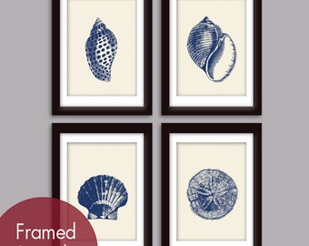 Underwater Sea Shell Collection (Series B) -Set of 4 - Art Prints (Featured in Deep Blue and Soft Cream)
