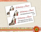 Red Bottom Sole Cheetah Print High Heel Stiletto Personalized Address Labels