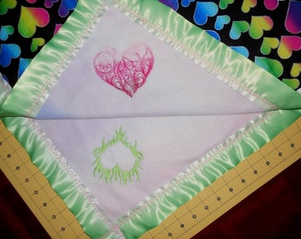 Rainbow Hearts Baby Blanket