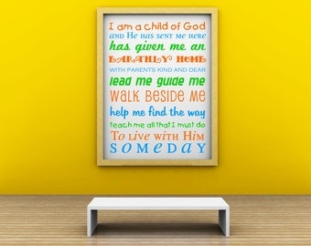 Vinyl Lettering Decal - SUBWAY ART  -I Am A Child Of God - in 3 colors - 17 x 23 inches - 1722