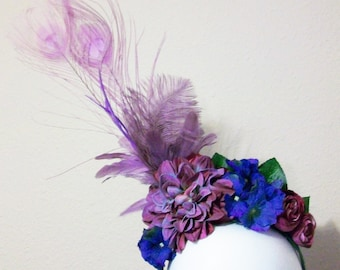 Lilah - floral and feather headpiece in lavender, purple and blue