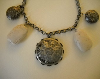 """Silver vintage button with beads-16"""""""