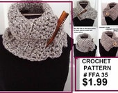 CROCHET PATTERN, scarf pattern, craft supplies, chunky style cowl, instant download, pdf tutorial, handmade patterns, number FFA35