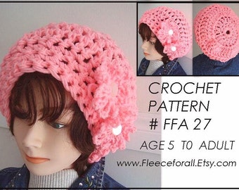 hat crochet pattern, chunky style slouchy hat, age 5 to adult, number FFA-27, instant download, childrens and womens accessories, clothing,