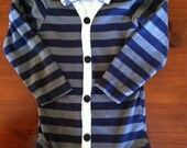 Cardigan onesie bodysuit with bow tie onesie blue gray stripe polka dot - FREE SHIPPING