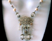 Crystal and Pearl Beaded Necklace, Bridal Jewelry