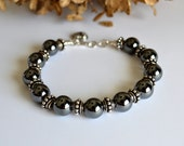 Hematite and silver bracelet, hematite jewelry, gift for her, gift for best friend, mothers day gift