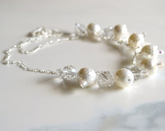 White pearl and crystal cluster necklace, bridal jewelry, sparkling necklace, wedding necklace